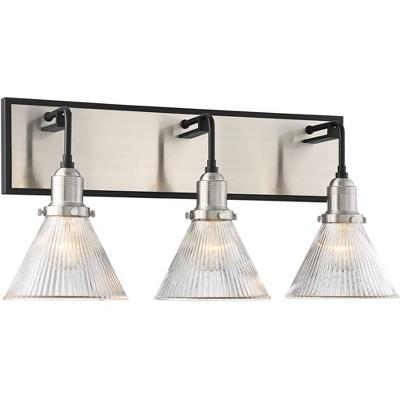 "Possini Euro Design Farmhouse Industrial Wall Light Nickel Black Hardwired 23"" Wide 3-Light Fixture Ribbed Glass Bathroom Vanity"