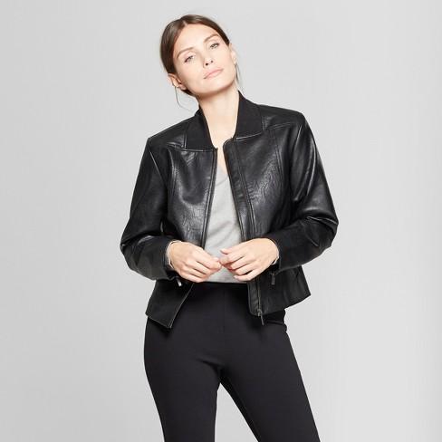 Women's Long Sleeve Collared Moto Jacket - Prologue™ Black S - image 1 of 3