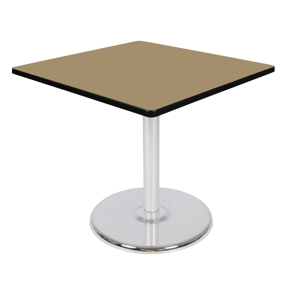 36 34 Via Square Platter Base Dining Table Gold Chrome Regency