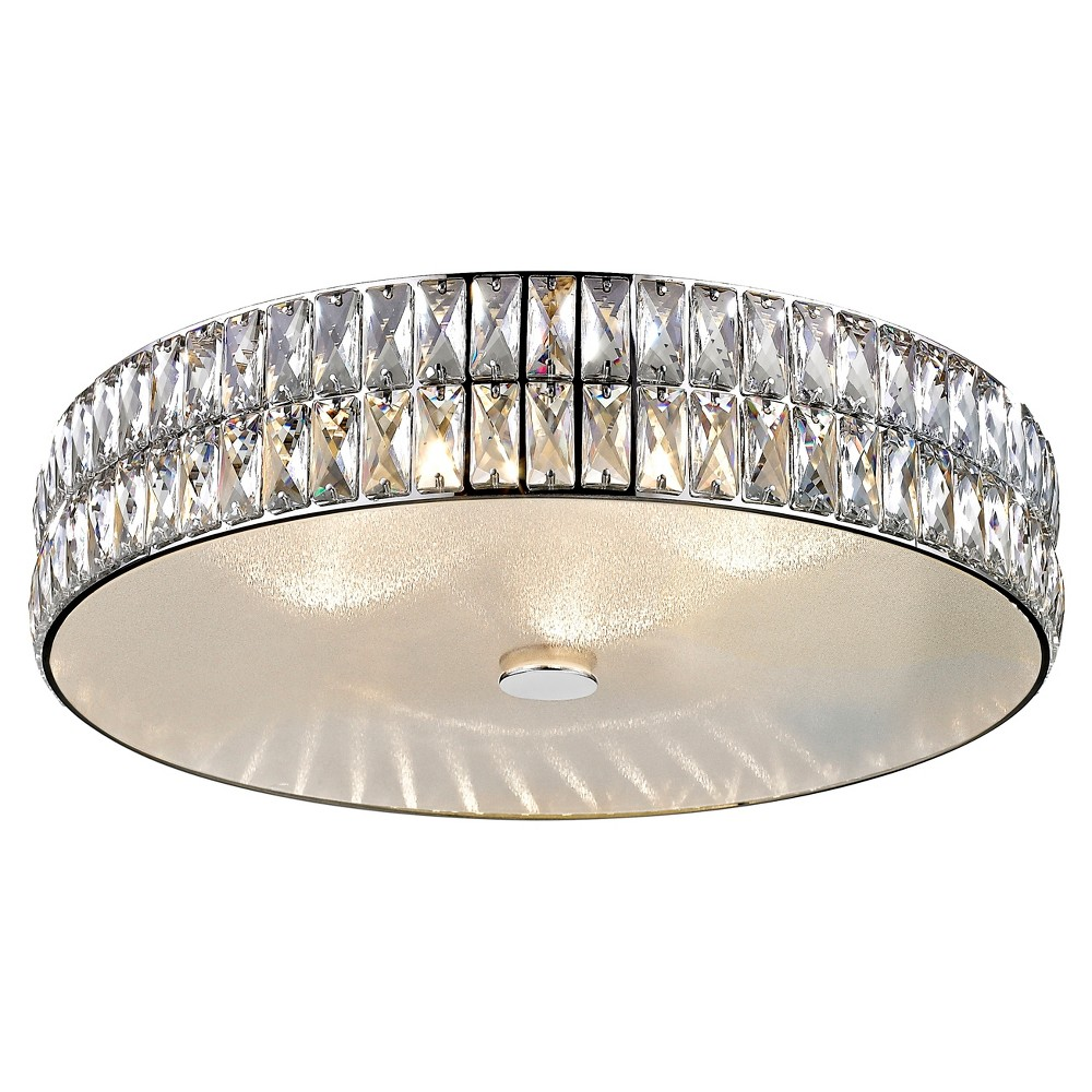 Image of Magari 18D Led Crystal Flush Mount - Mirrored Stainless Steel (Silver) - Crystal Glass Shade