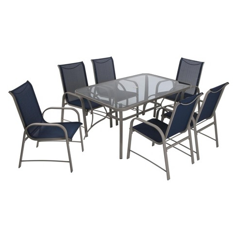 6fe73390eb6a Paloma 7pc Rectangle Steel And Tempered Glass Patio Dining Set - Blue/Gray  - Cosco Outdoor Living : Target