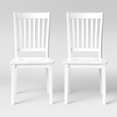2pk Holden Slat Back Dining Chair White - Threshold™