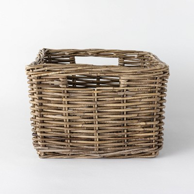 "Decorative Rectangle Kooboo Rattan Basket 18"" x 12.2"" Gray - Threshold™ designed with Studio McGee"