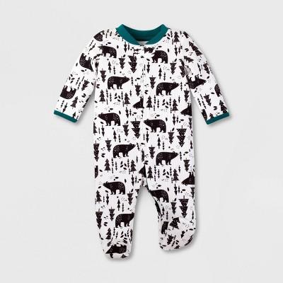 Lamaze Baby Boys' Organic Cotton Bear Print Thermal Sleep 'N Play - Off White Newborn