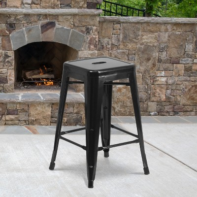 """Flash Furniture Commercial Grade 24"""" High Backless Metal Indoor-Outdoor Counter Height Stool with Square Seat"""