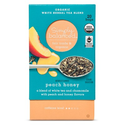 Peach Honey Organic White Herbal Tea Blend - 20ct - Simply Balanced™