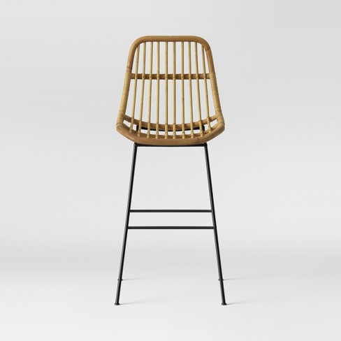 Linnet Rattan With Metal Legs Barstool Light Brown Opalhouse