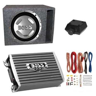 """Boss Audio 12"""" 1400W Car Audio Subwoofer & 1500W Mono Class A/B Amplifier with 8 Gauge Wiring Kit & QPower Single 12"""" Vented Subwoofer Enclosure Box"""