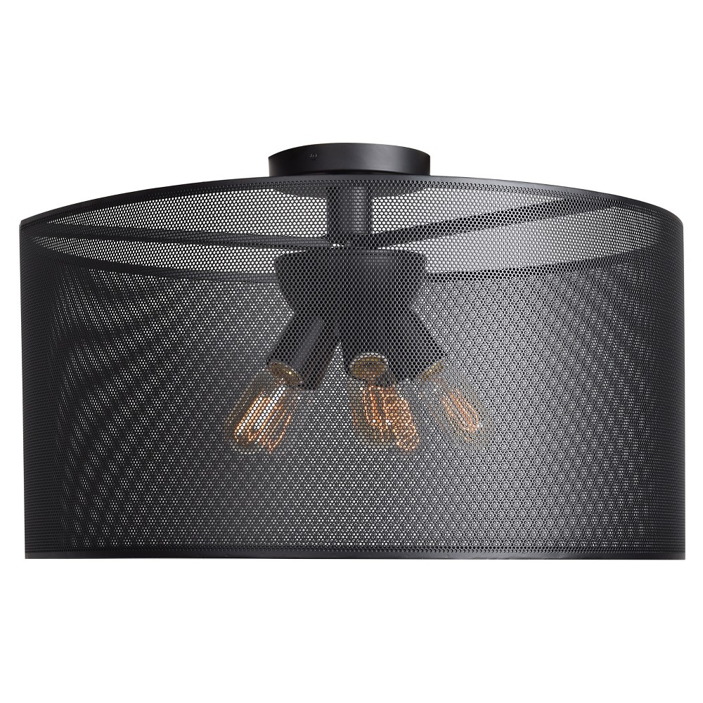 Epic 28D Round Semi-Flush Mount - Black