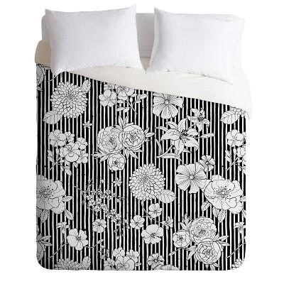 Ninola Design Flowers and Stripes Comforter Set - Deny Designs