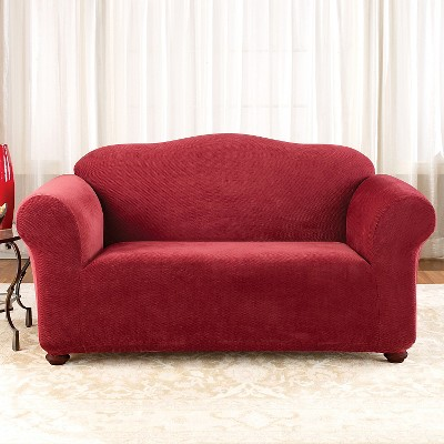 Stretch Pique Loveseat Slipcover Garnet - Sure Fit, Red