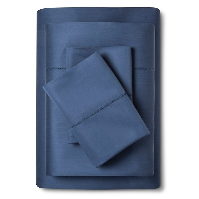 Queen 700 Thread Count Supima Classic Hemstitch Sheet Set Muted Blue - Fieldcrest®
