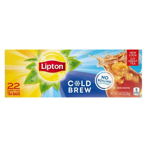 Lipton Cold Brew Family Size Black Iced Tea Bags - 22ct - image 1 of 4