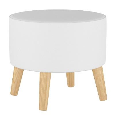 Round Ottoman with Splayed Legs Twill White - Skyline Furniture