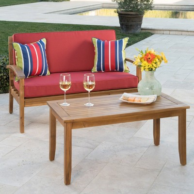 Peyton 2pc Acacia Wood Loveseat and Coffee Table Set - Christopher Knight Home