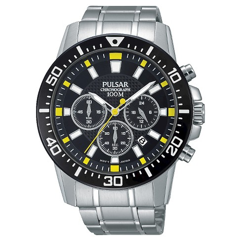 Men's Pulsar Chronograph - Silver Tone with Black Ion Finish Bezel - PT3641X - image 1 of 1