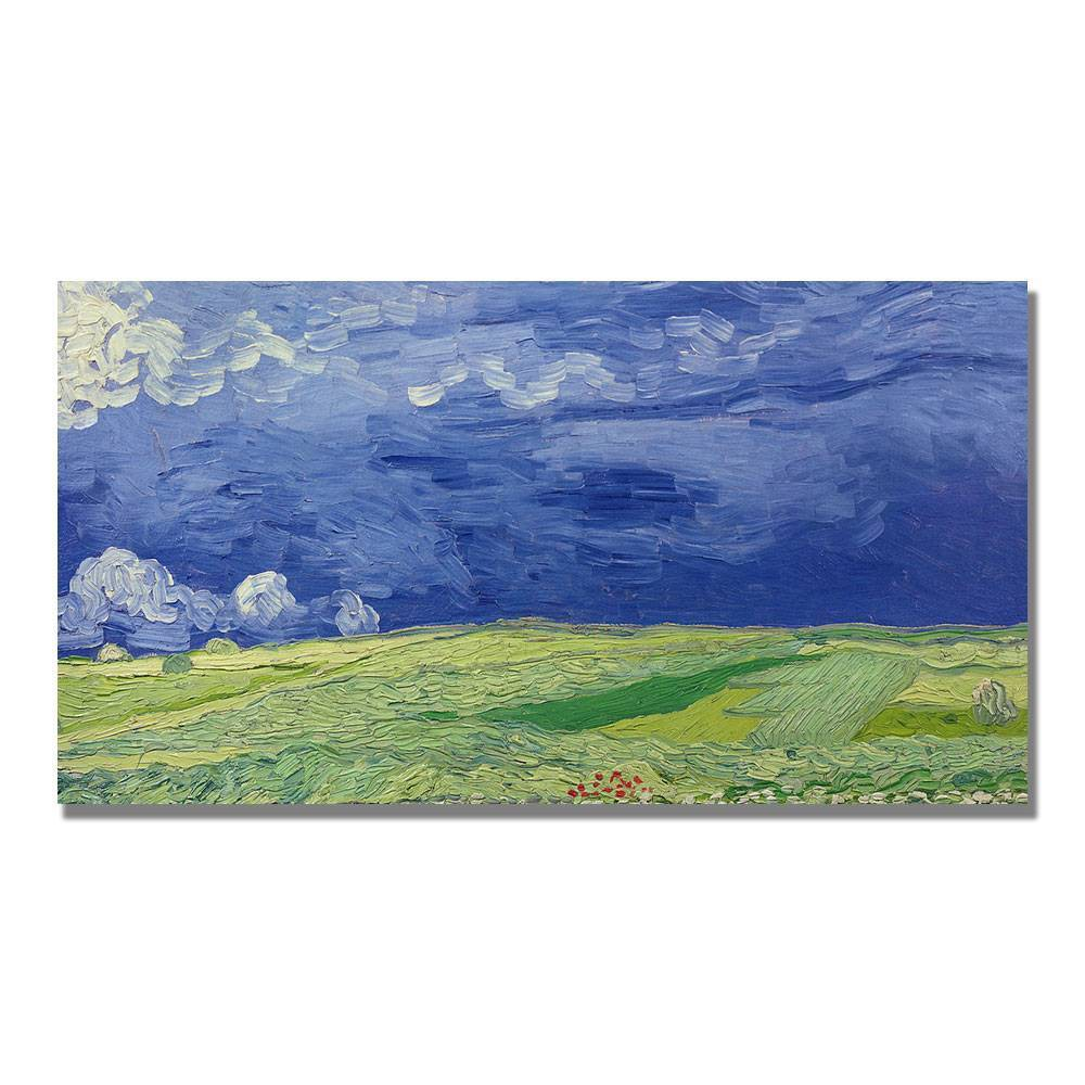 'Wheatfields under Thundercloud' by Vincent Van Gogh Ready to Hang Canvas Wall Art, Multi-Colored
