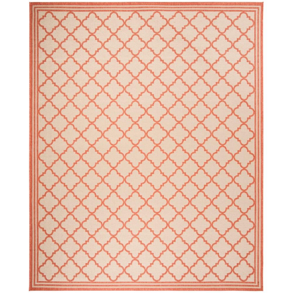 9'X12' Quatrefoil Design Loomed Area Rug Cream/Rust (Ivory/Red) - Safavieh