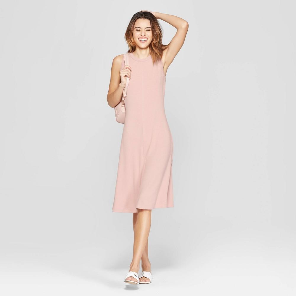 Women's Sleeveless Crewneck Knit Dress - A New Day Smoked Pink XL