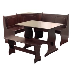 3 Piece Nook Dining Set Wood/Espresso - TMS