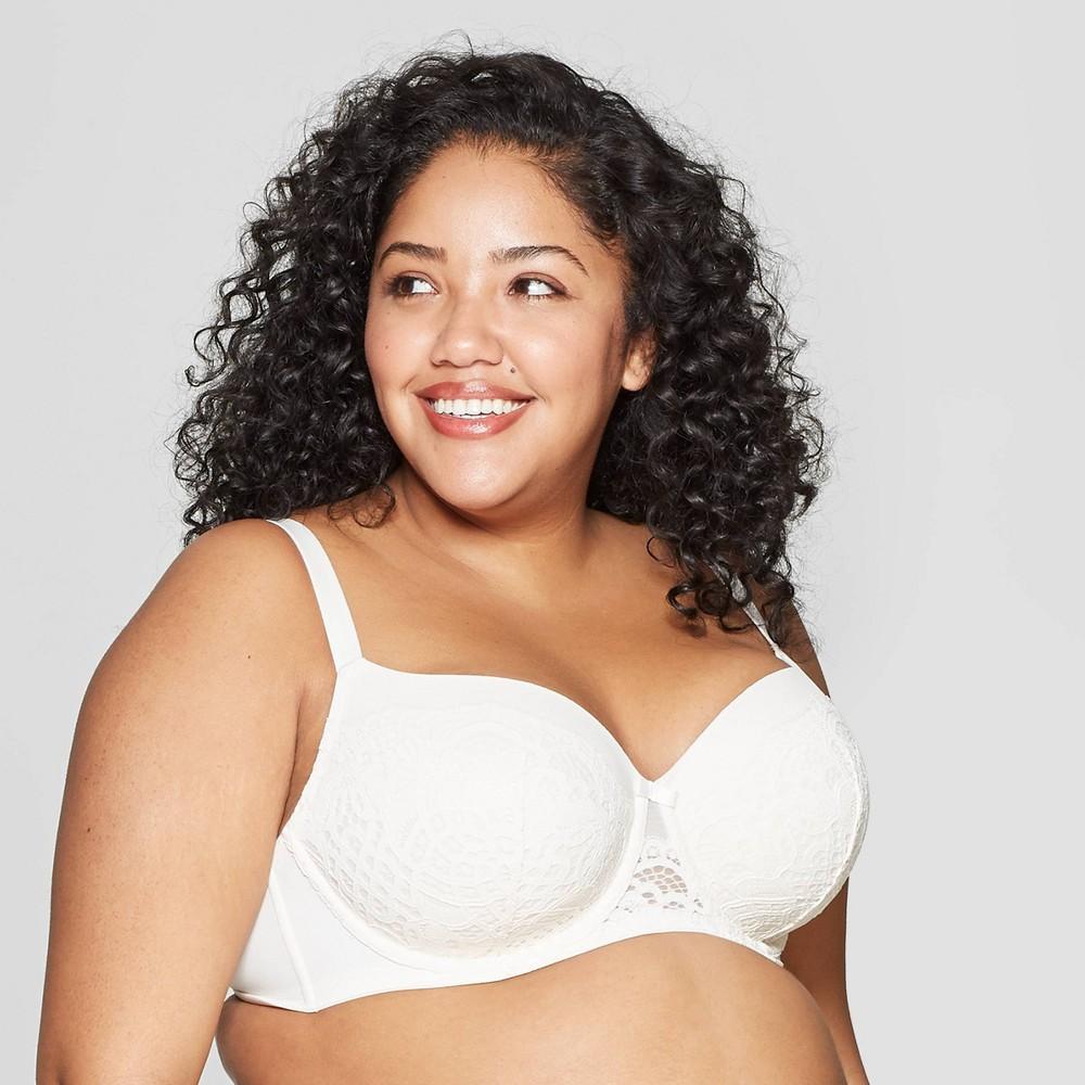 Women's Plus Size Lightly Lined Balconette Bra - Auden Gesso White 48DDD