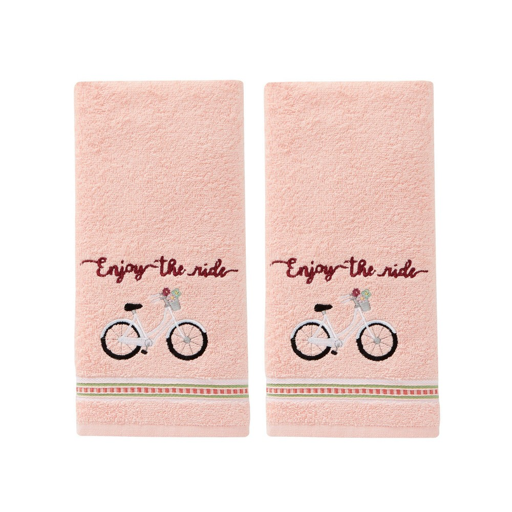 Image of 2pc Enjoy The Ride Hand Towel Set in Coral Pink - SKL Home