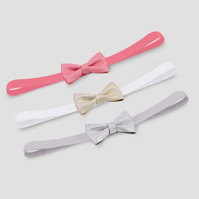 Baby Girls' 3pk Soft Sparkle Bow Headwrap - Just One You® made by carter's Pink/Gray