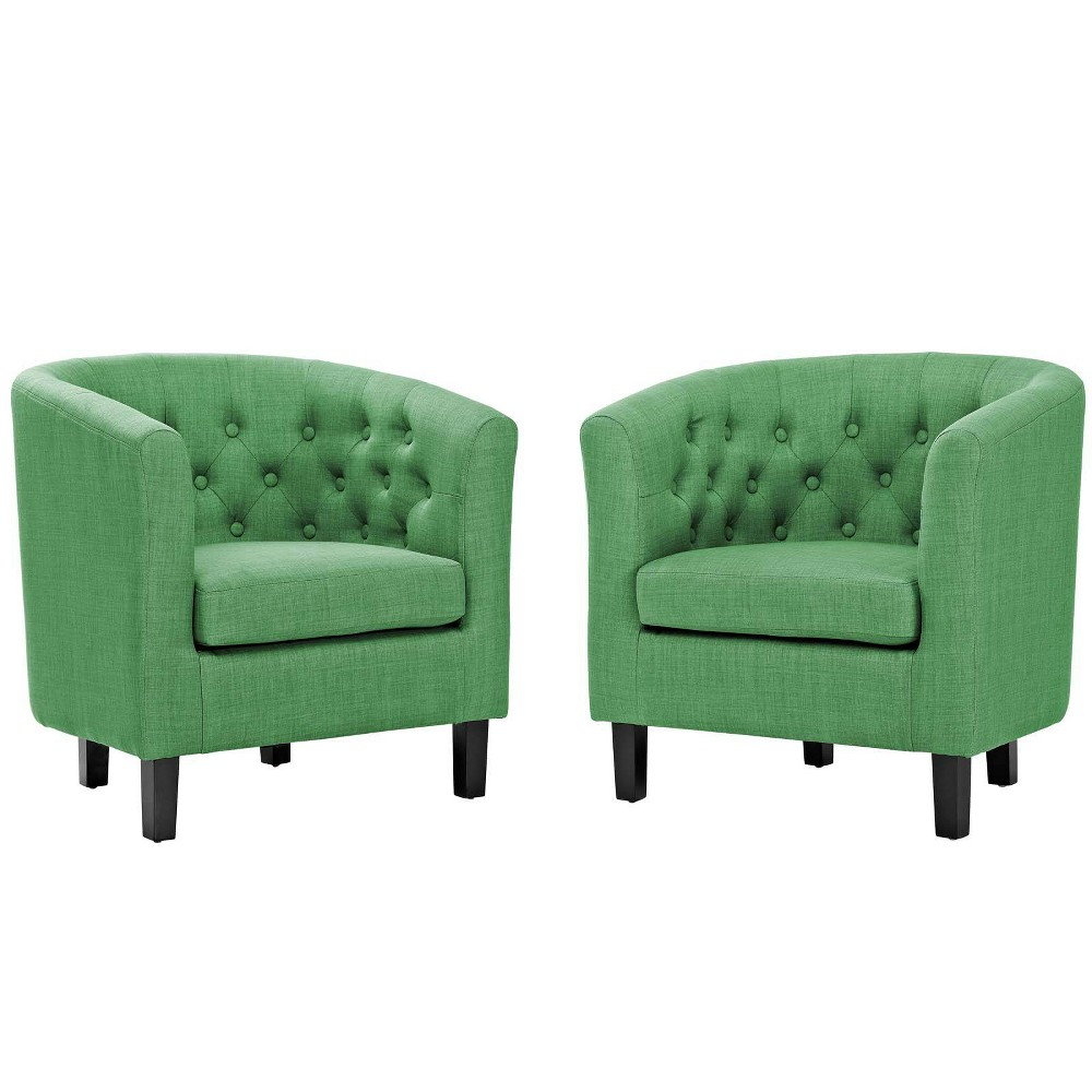 2pc Prospect Upholstered Fabric Armchair Set Green - Modway