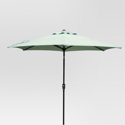 9' Round Patio Umbrella Aqua - Black Pole - Threshold™