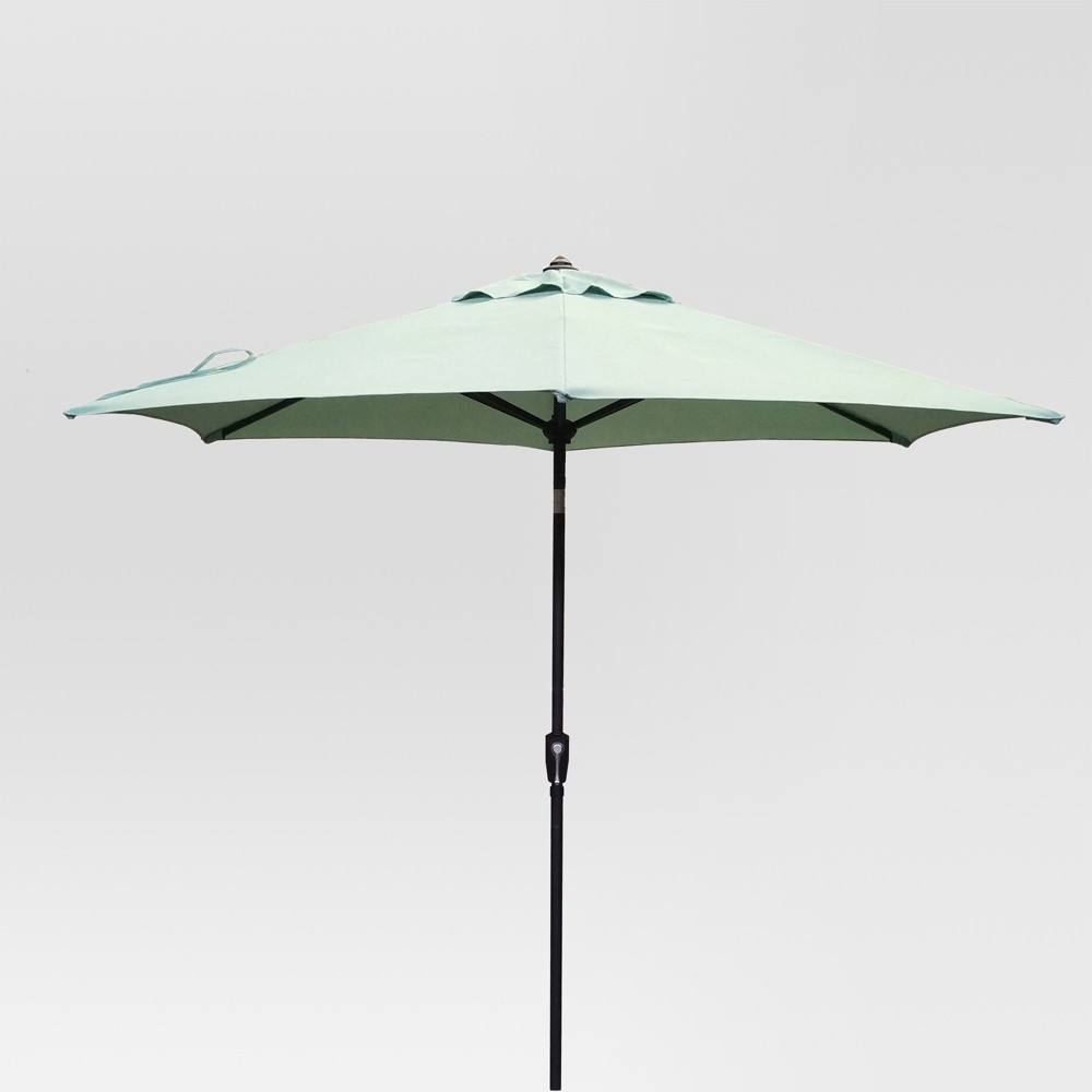 9' Round Patio Umbrella Aqua (Blue) - Black Pole - Threshold