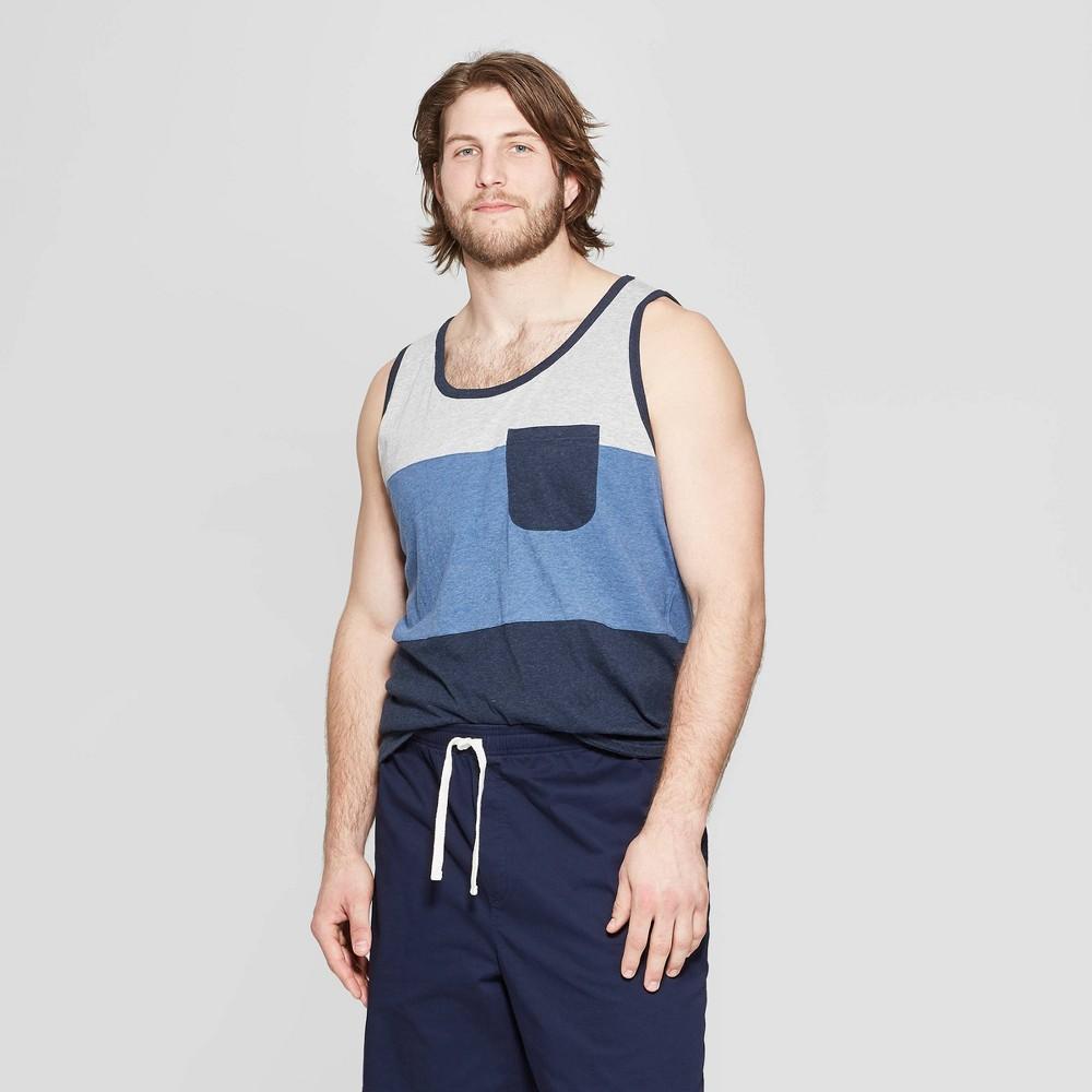 Men's Big & Tall Regular Fit Sleeveless Novelty Pocket Tank - Goodfellow & Co Xavier Navy 2XBT