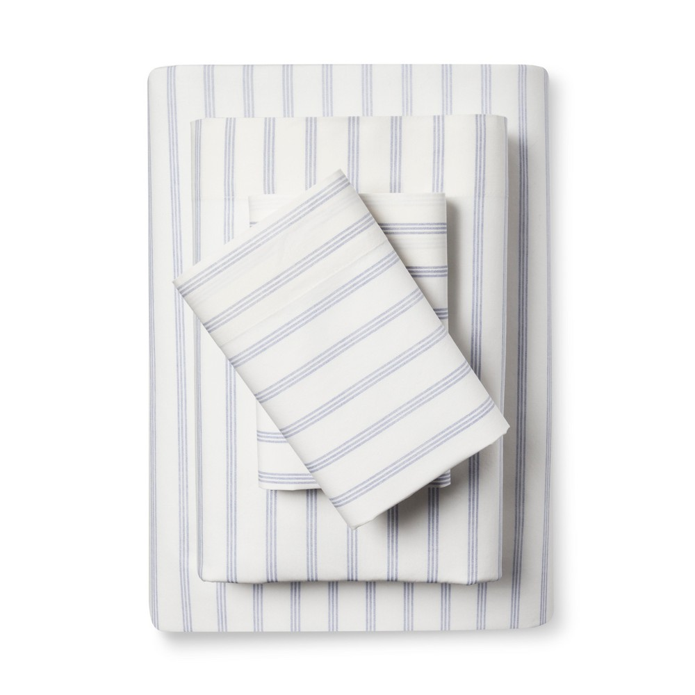 Vintage Wash Percale Sheet Set Queen Normandy Blue Threshold