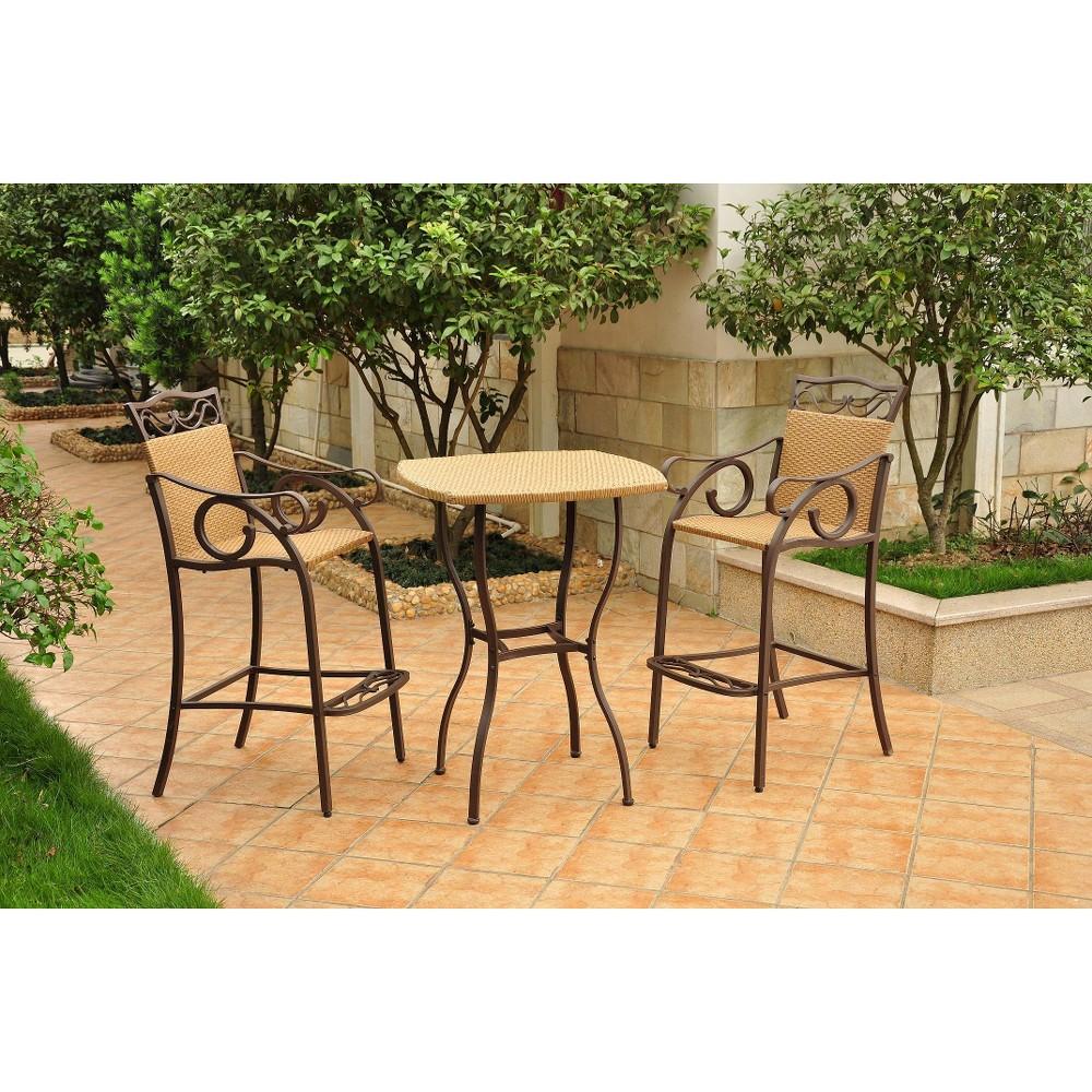 Valencia 3-Piece Wicker/Iron Bar Height Patio Bistro Furniture Set - Honey Pecan/Matte Brown