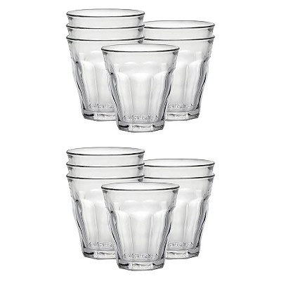 Duralex Picardie 3.12 Ounce Clear Tempered Glass Stacking Drinkware Tumbler Drinking Glasses, Set of 12
