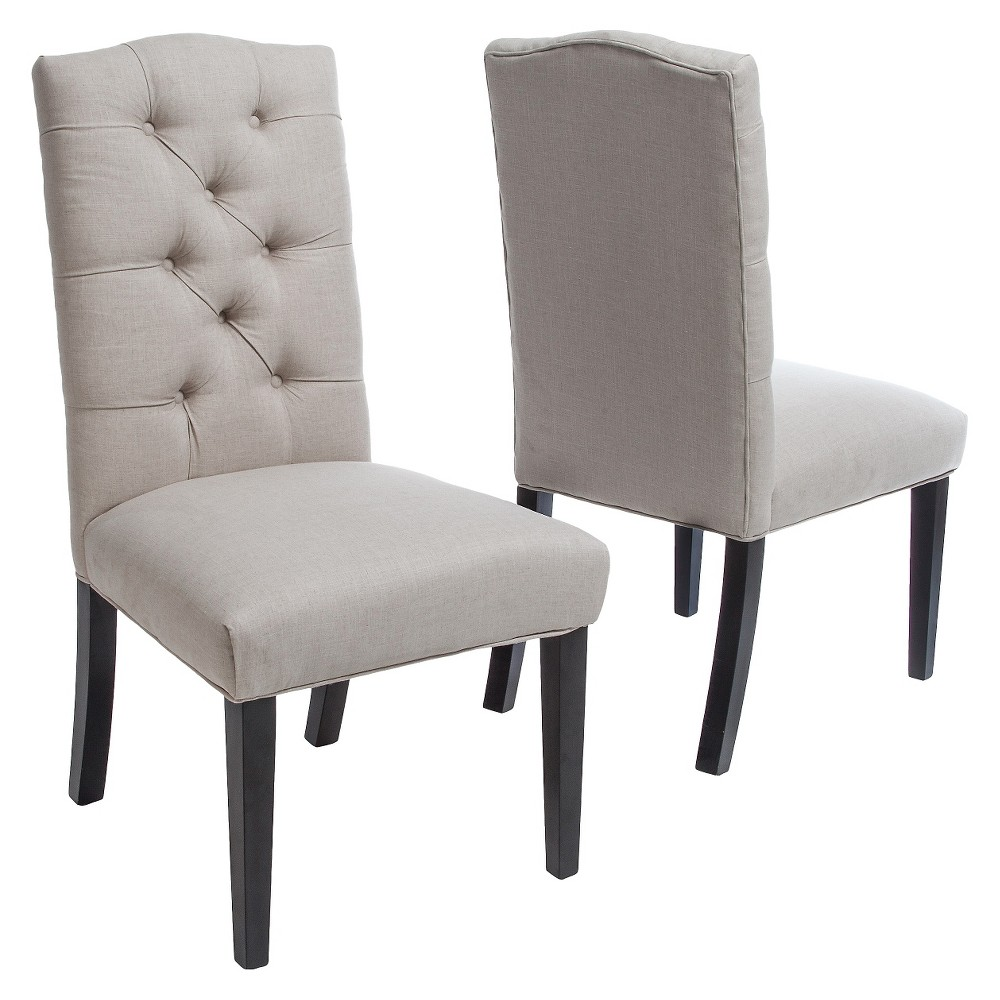 Set of 2 Berlin Tufted Fabric Dining Chair Natural - Christopher Knight Home was $199.99 now $129.99 (35.0% off)