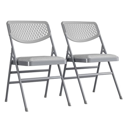 Set of 2 Ultra Comfort Commercial Fabric and Resin Mesh Folding Chair Gray - Cosco