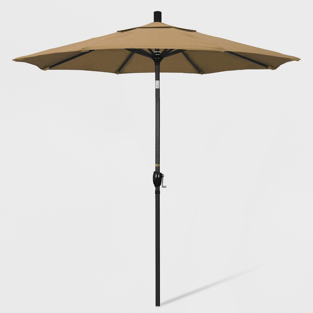 7.5' Aluminum Push Tilt Patio Umbrella Straw (Brown) - California Umbrella