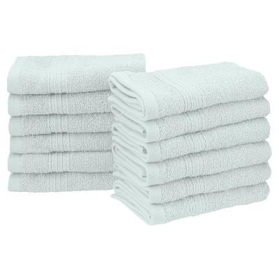 Eco-Friendly Ringspun Cotton Modern Absorbent 12-Piece Face Towel Set - Blue Nile Mills