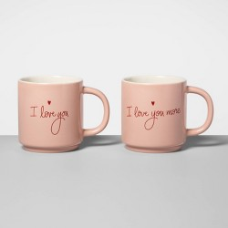 16oz 2pk Stoneware I Love You and I Love You More Mug Set Coral - Opalhouse™