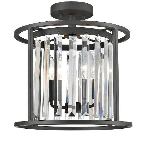 "Z-Lite 439SF14 Monarch 3 Light 14"" Wide Semi-Flush Crystal Ceiling Fixture - image 1 of 1"