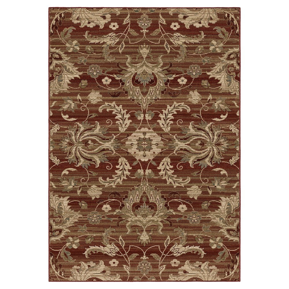Red Botanical Woven Area Rug - (6'7