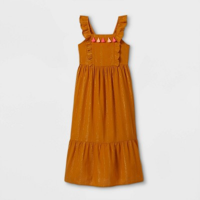 Girls' Shine Woven Maxi Dress - Cat & Jack™ Copper Brown