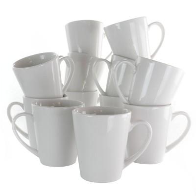 10oz 12pc Porcelain Holt Mug Set White - Elama