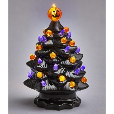 Lakeside Lighted Ceramic Halloween Tree Decoration - Battery Powered Accent