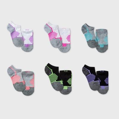 Kids' 6pk No Show Athletic Socks - All in Motion™ White/Gray/Black