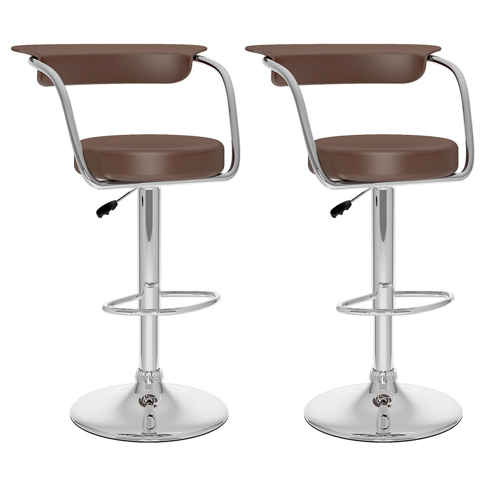 Open Back Adjustable Barstool - Brown (Set Of 2) - Corliving