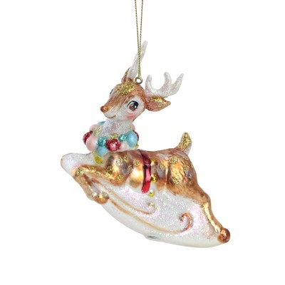 """Northlight 5.25"""" White and Red Glittered Reindeer Glass Christmas Ornament"""