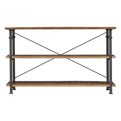 Homelegance Factory Collection Rustic Modern Wood Metal Sofa Table TV Stand Storage Shelf Console Unit Entertainment Center Stand, Black