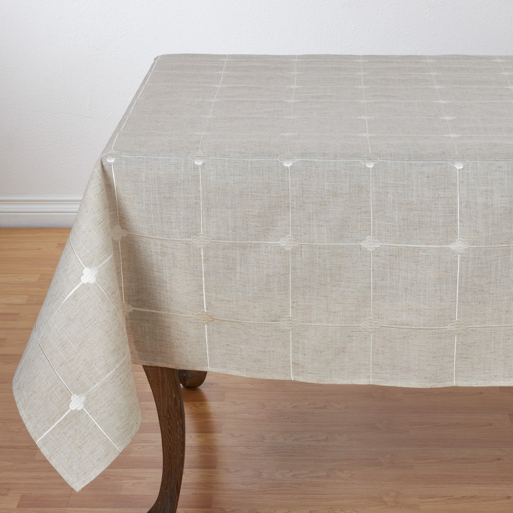 """67""""x67"""" Natural Poly And Linen Blend Tablecloth With Embroidered Design Light Brown Saro Lifestyle"""