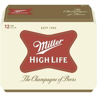 Miller High Life Beer - 12pk/12 fl oz Cans